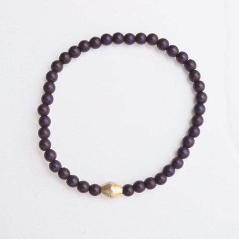 Stability, Grounding, Protection | Delicate Beaded Stretch Bracelet | Dark Purple Hematite Gemstone