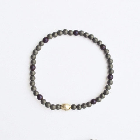Stability, Grounding, Protection | Delicate Beaded Stretch Bracelet | Grey Hematite Gemstone