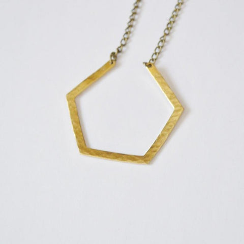 Dare to Be Your Own Person | Layering Hexagon Necklace | Brass - Alora Boutique - Jewelry with meaning that gives back fashion for good
