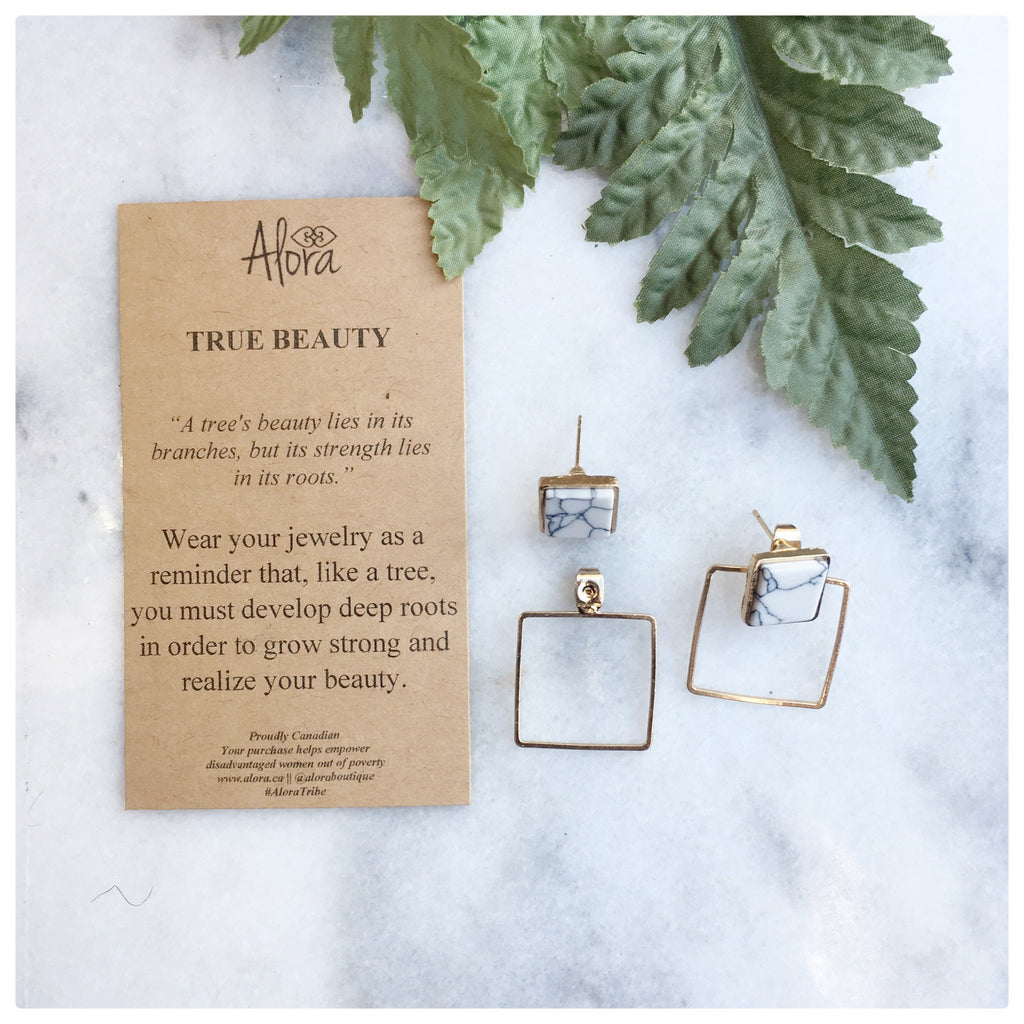 Melissa -  True Beauty Square Geometric Earrings