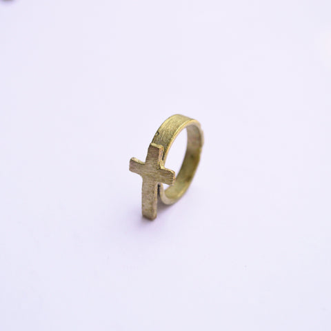 The Journey | Cross Ring | Recycled Brass - Alora Boutique
