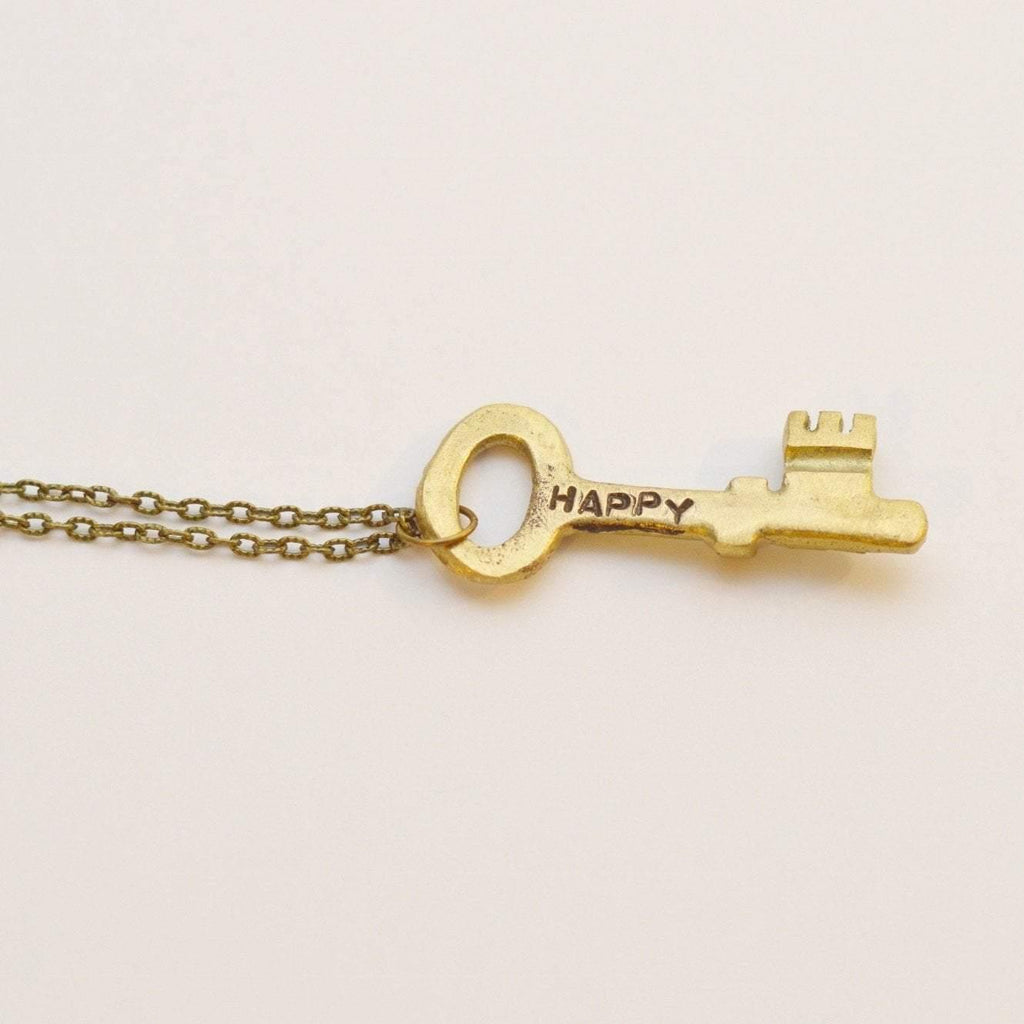 Unlock Happiness 'Happy' | Key Necklace | Recycled Brass - Alora Boutique