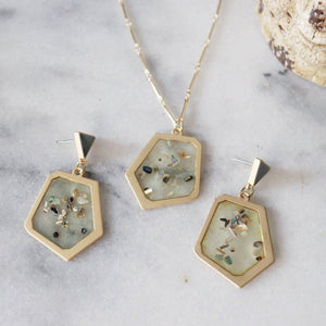 Theresa Resin Necklace and Earrings Set Resin Jewelry Alora Boutique