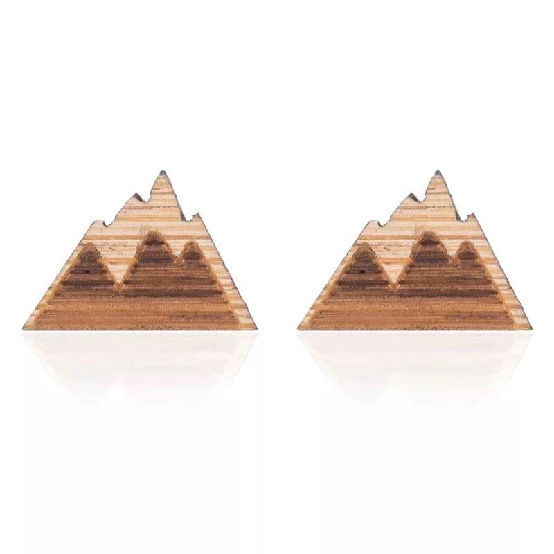 Aspen Rocky Mountain Wooden Stud Earrings - 4 Colors to Choose From