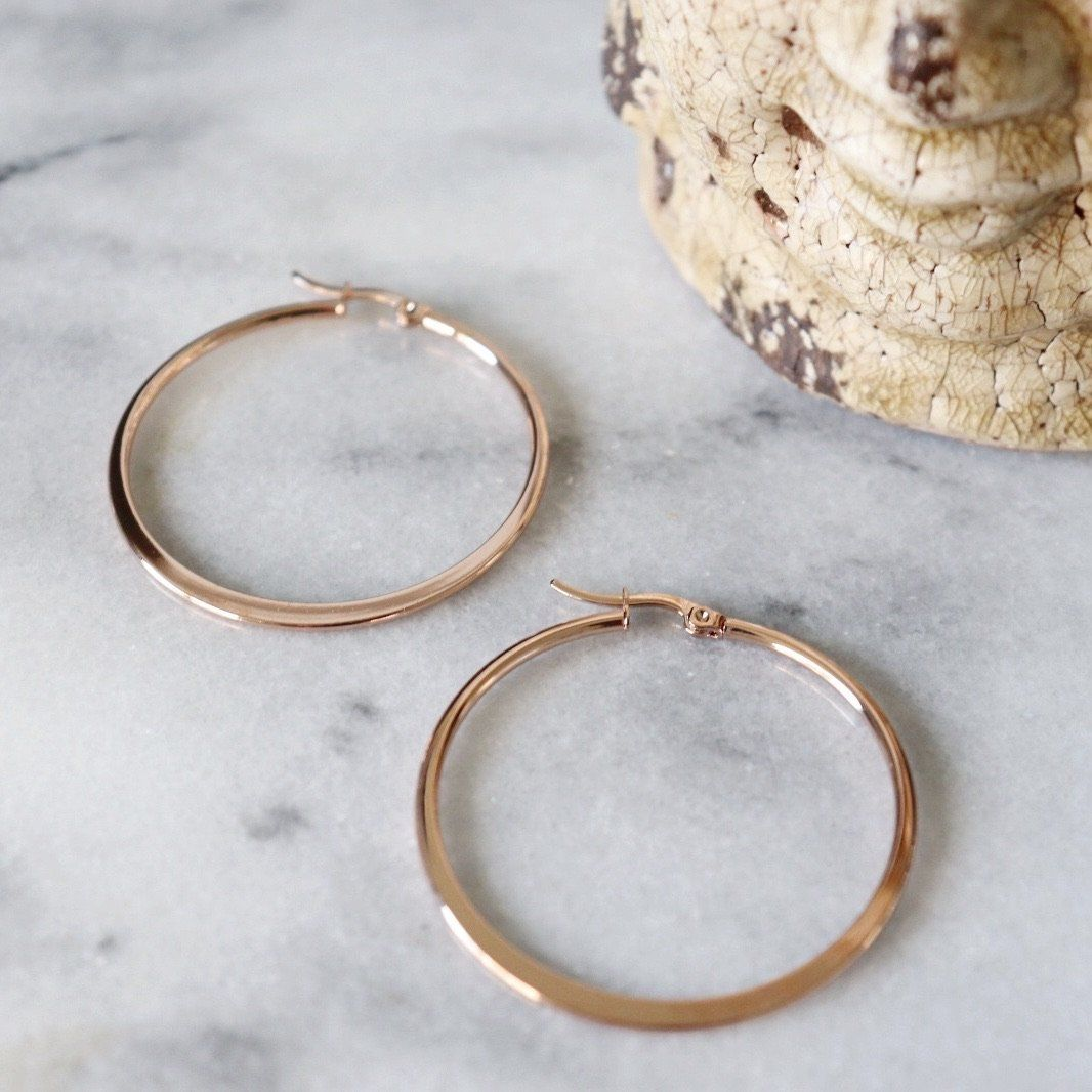 Katrina | Simple Hoop Earrings Earrings Alora Boutique Rose Gold