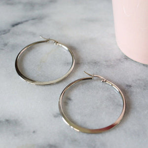 Katrina | Simple Hoop Earrings Earrings Alora Boutique Silver