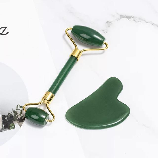 Face Massage Roller and Gua Sha Gift Set - Jade