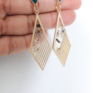 Eunha Diamond Drop Earrings | Resin - Alora Boutique