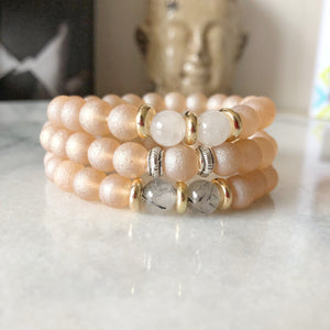 Matte Pink Beaded Gemstone Bracelet