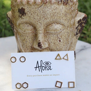 Mia - Minimalist Stud Earring Set Earrings Alora Boutique Gold