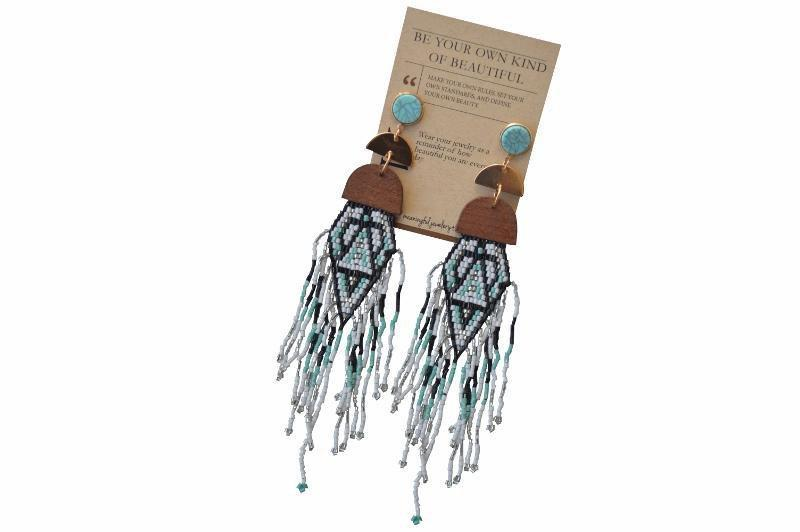 Evaleen Beaded Fringe Earrings - Blue - Alora Boutique - Jewelry with meaning that gives back fashion for good