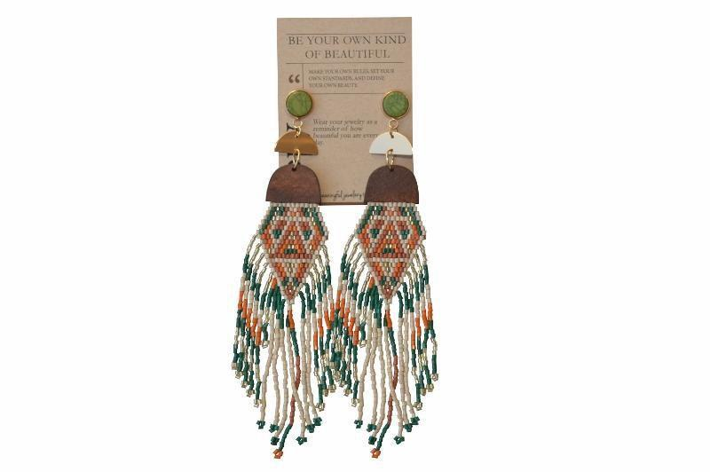 Evaleen Beaded Fringe Earrings - Green - Alora Boutique - Jewelry with meaning that gives back fashion for good