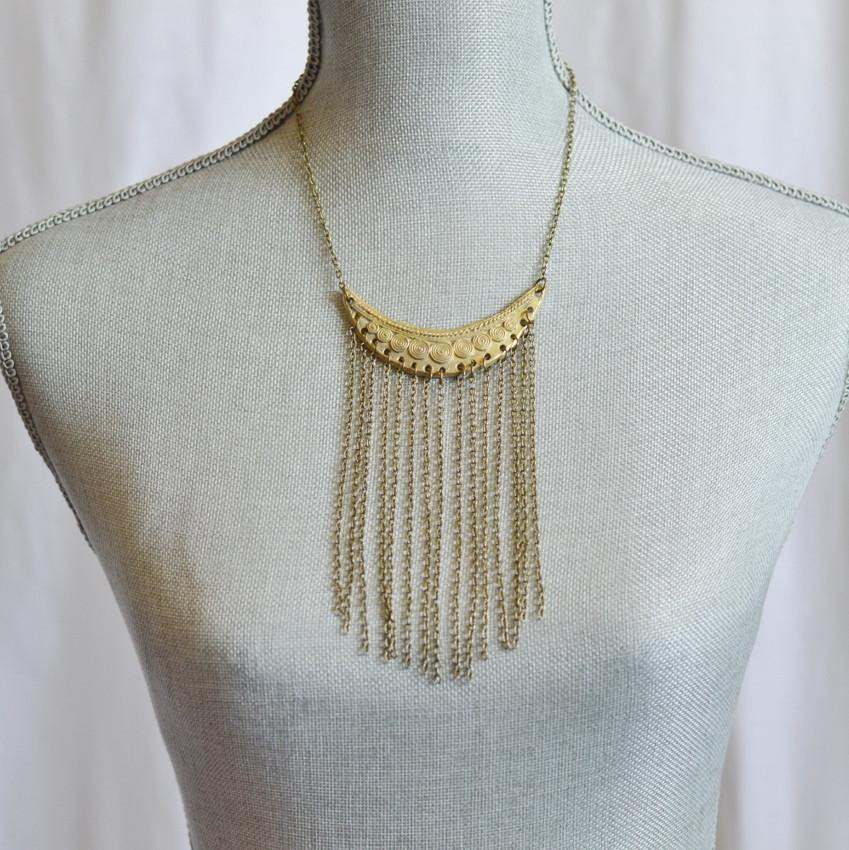 Statement Fringe Necklace | Ecofashion Jewelry - Alora Boutique  - 1