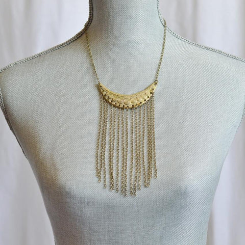 Statement Fringe Necklace | Recycled Brass - Alora Boutique