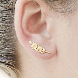 Leaf Crawler Stud Earrings