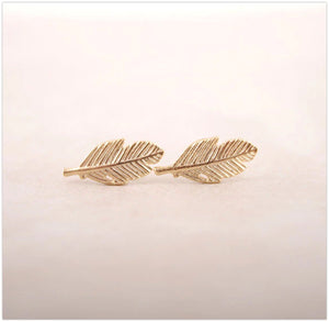 'Jodi' Leaf Stud Earrings Earrings Alora Boutique Gold