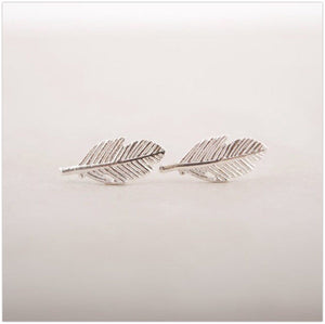 'Jodi' Leaf Stud Earrings Earrings Alora Boutique Silver