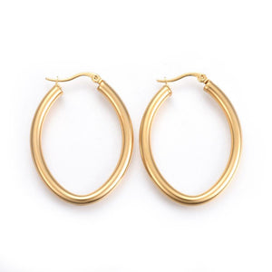 Santana Oval Hoop Earrings - Alora Boutique