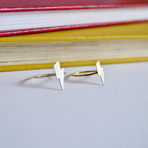 Lightning Bolt Ring - Silver and Brass