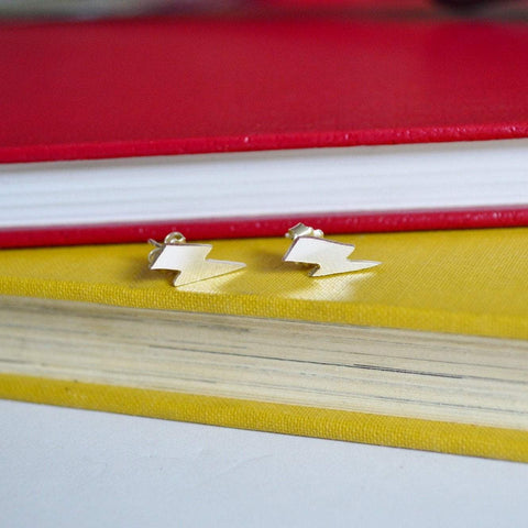 Lightning Bolt Studs - Sterling Silver and Brass