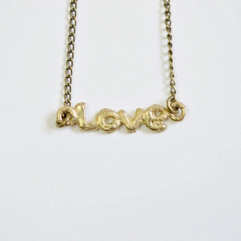 Love Word Necklace | Recycled Brass - Alora Boutique