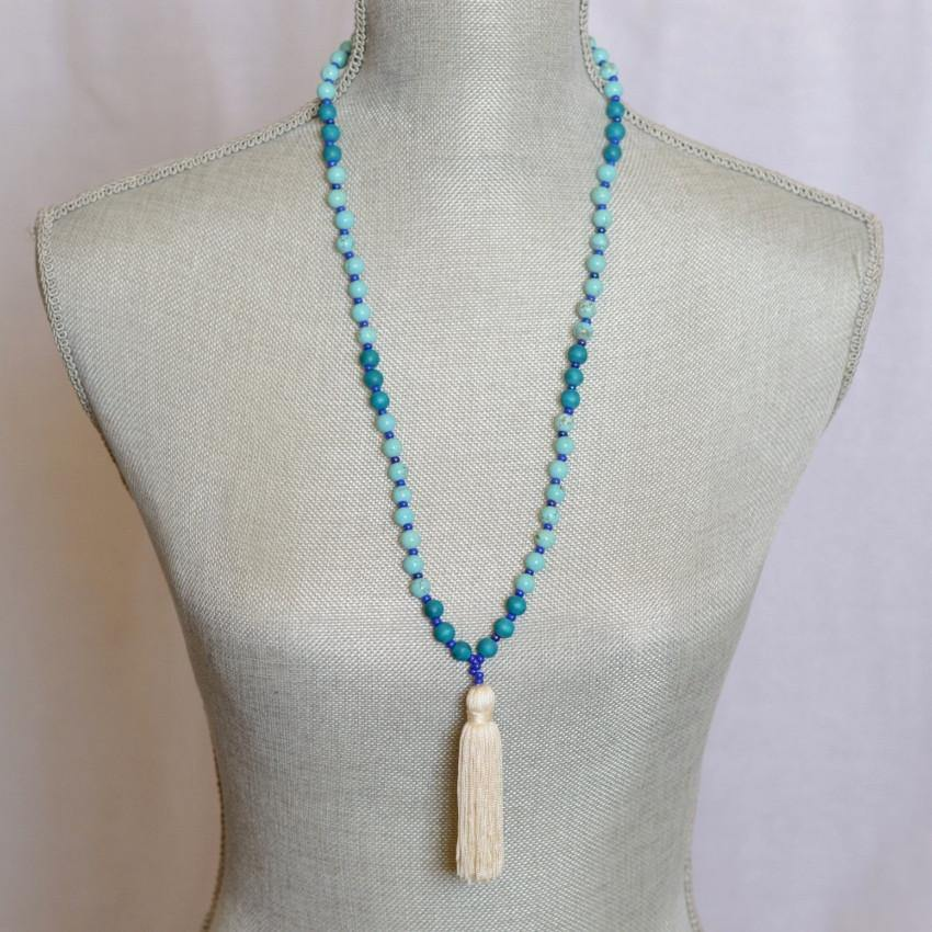 Mala Necklace : Turquoise Gemstone Yoga Jewelry - Alora Boutique  - 1