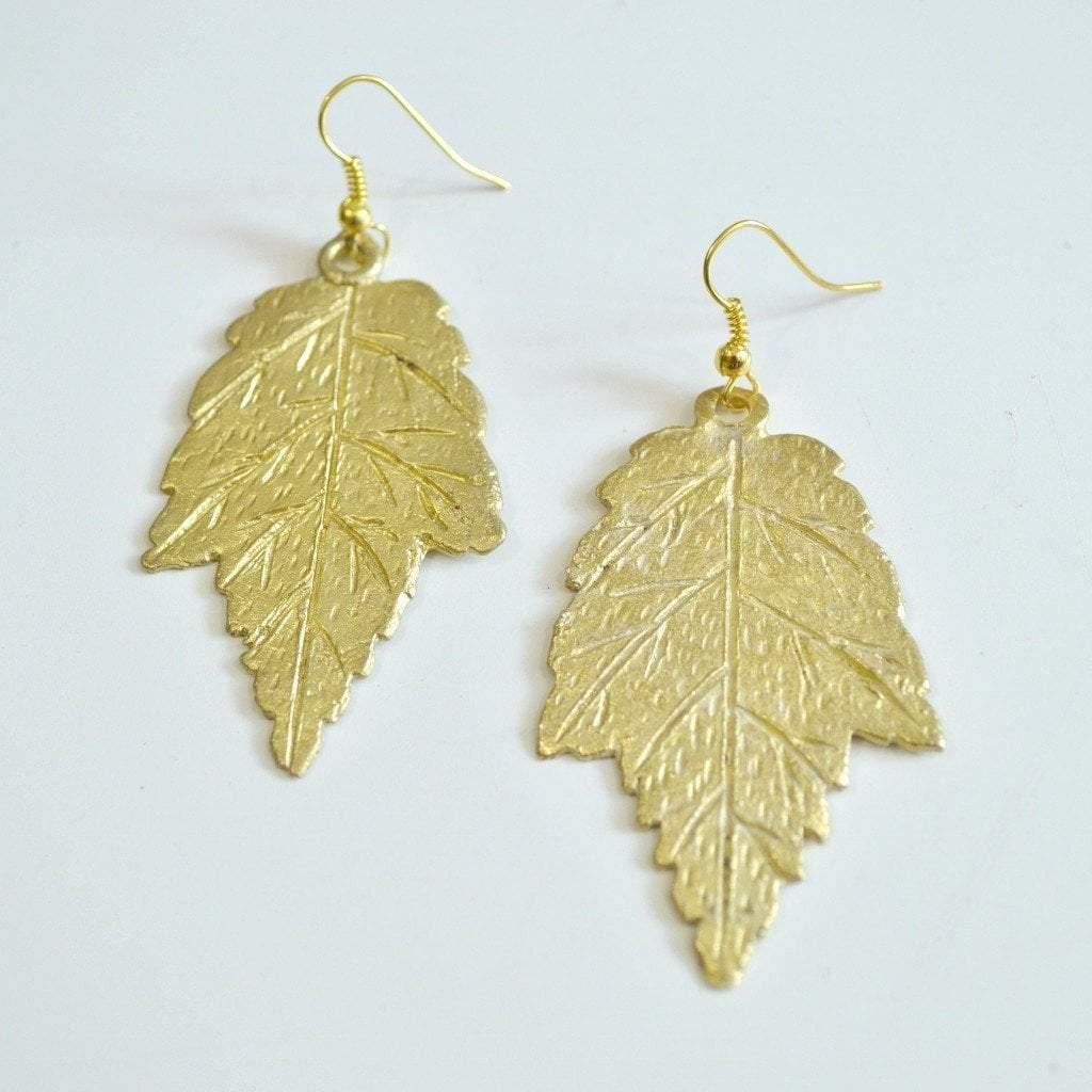 I LOVE Canada | Maple Leaf Dangle Earrings | Recycled Brass - Alora Boutique