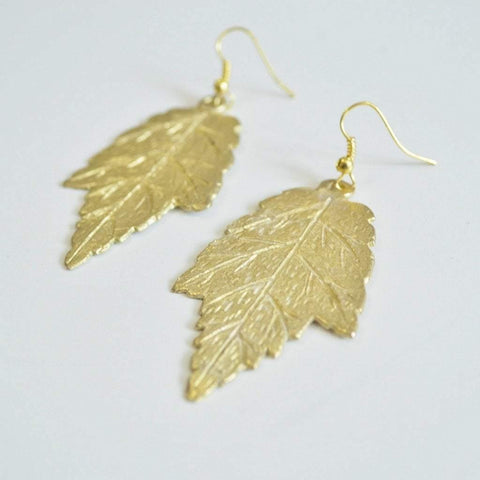 I LOVE Canada | Maple Leaf Dangle Earrings | Recycled Brass - Alora Boutique - Jewelry with meaning that gives back fashion for good