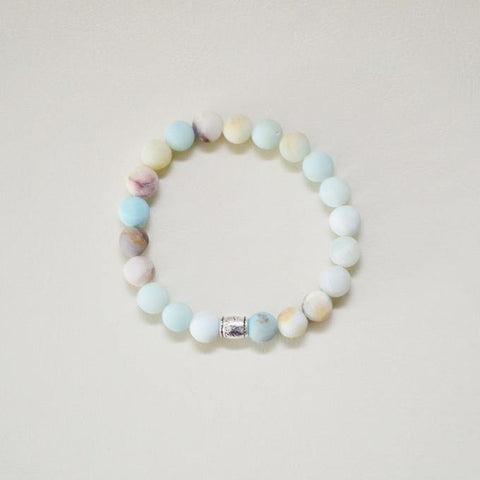 Courage, Compassion, Prosperity | Beaded Stretch Bracelet | Matte Amazonite Gemstone