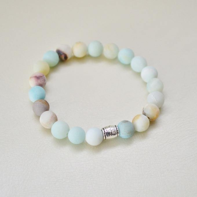 Courage, Compassion, Prosperity | Beaded Stretch Bracelet | Matte Amazonite Gemstone - Alora Boutique - Jewelry with meaning that gives back fashion for good