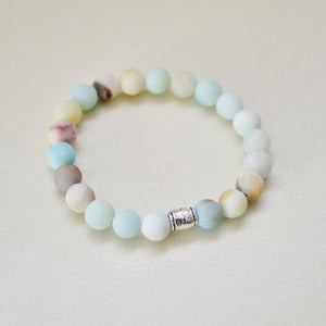 Matte Amazonite Gemstone Bracelet | Courage, Compassion, Prosperity Bracelets Alora Boutique Patterned Silver