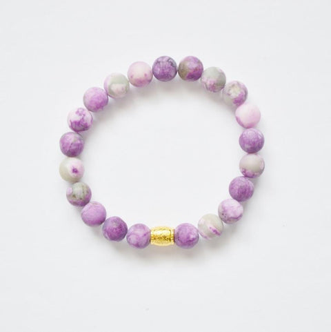 Matte Amethyst (Purple) Gemstone Stretch Bracelet - Alora Boutique  - 1