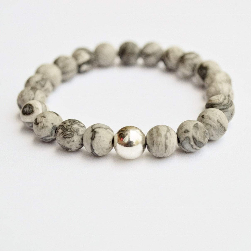 Gentleness, Comfort, Relaxation | Beaded Stretch Bracelet | Matte Grey Jasper Gemstone - Alora Boutique - Jewelry with meaning that gives back fashion for good