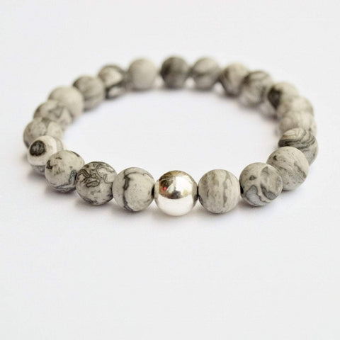 Gentleness, Comfort, Relaxation | Beaded Stretch Bracelet | Matte Grey Jasper Gemstone - Alora Boutique