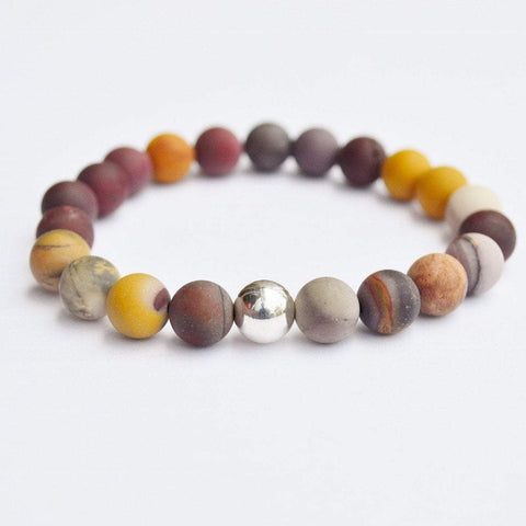 Self-confidence, Self-worth, Strength | Beaded Stretch Bracelet | Matte Mookaite Gemstone - Alora Boutique