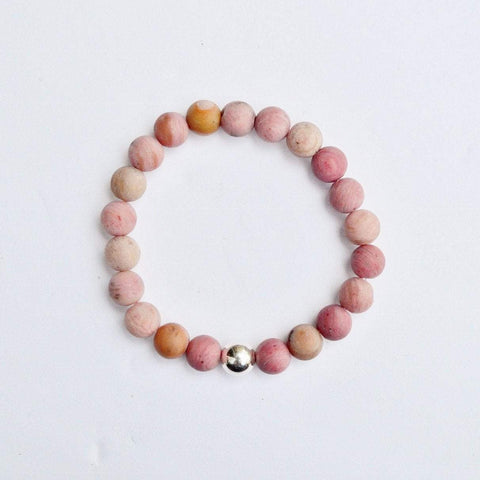 Bravery, Compassion and Forgiveness | Beaded Stretch Bracelet | Matte Rhodonite Gemstone