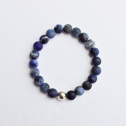 Logic, Rationality and Efficiency | Beaded Stretch Bracelet | Matte Sodalite Gemstone