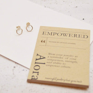 Empower Hexagon Earrings | Sterling Silver or Brass Earrings Alora Boutique Sterling Silver