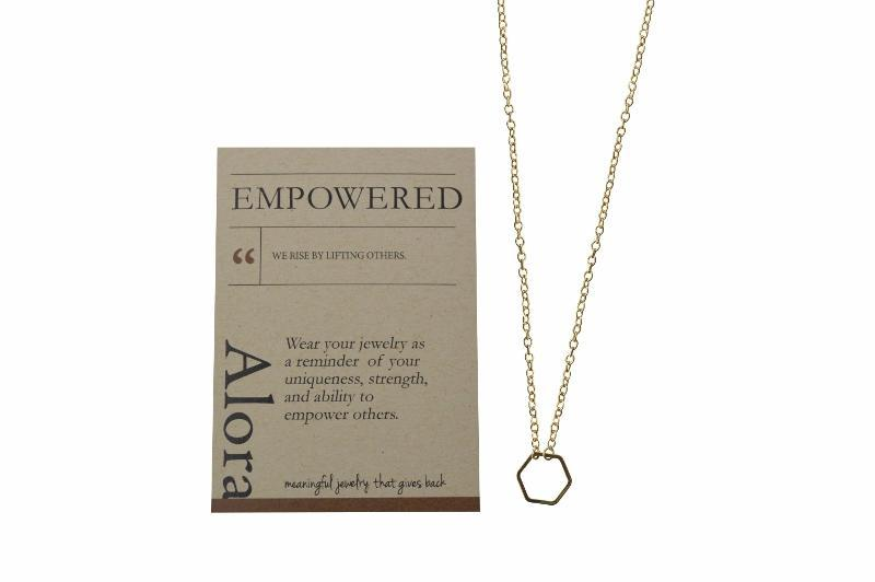 Dainty Hexagon Necklace Gifts - Alora Boutique - Jewelry with meaning that gives back fashion for good