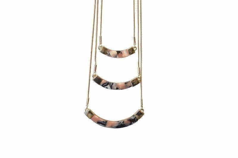 Emilyn Layered Resin Necklace - Pink