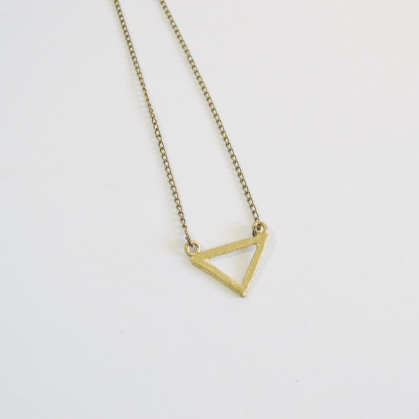 Resilience Small Delta Pendant Necklace Recycled Brass Alora