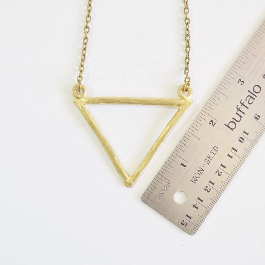 Resilience | Large Delta Pendant Necklace | Recycled Brass - Alora Boutique - Jewelry with meaning that gives back fashion for good