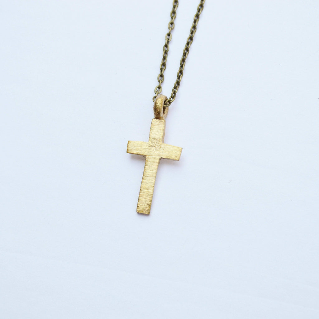 The Journey | Mini Cross Necklace | Brass and Sterling Silver