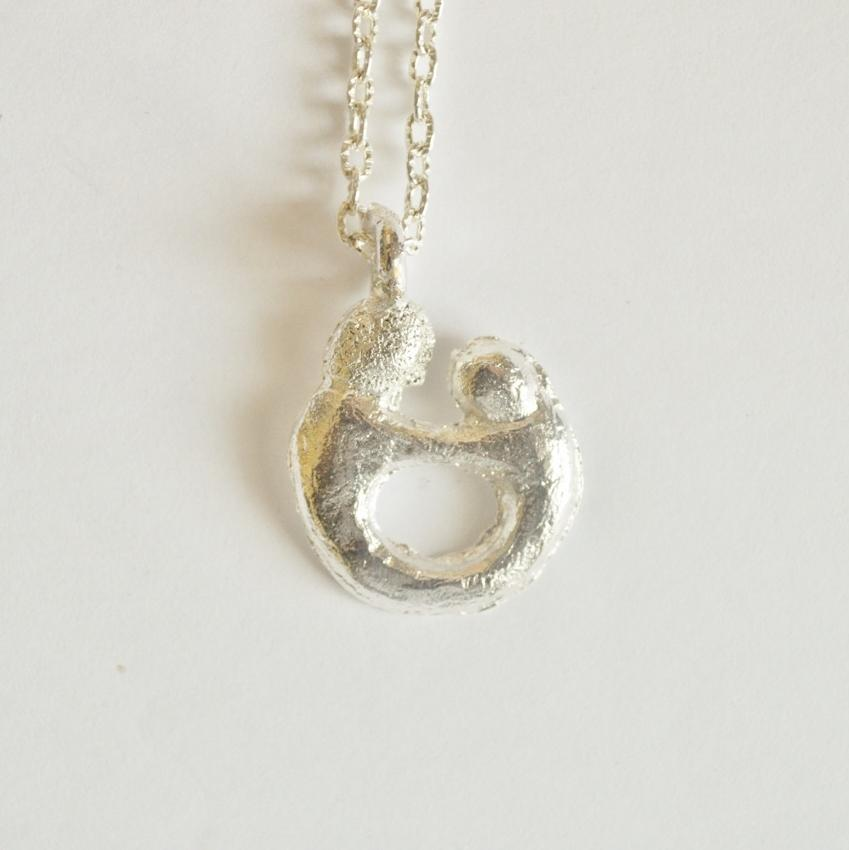 Mother and Child Pendant Necklace | Recycled Silver
