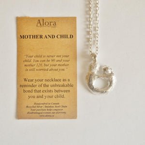 Mother and Child Pendant Necklace | Recycled Silver Necklaces Alora