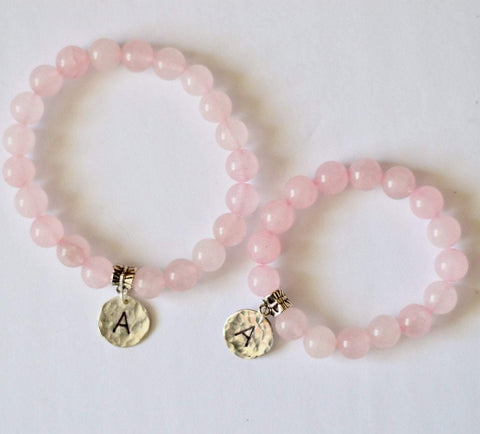 Mother and Daughter Gift - Rose Quartz - Monogram Personalized Gemstone Bracelets