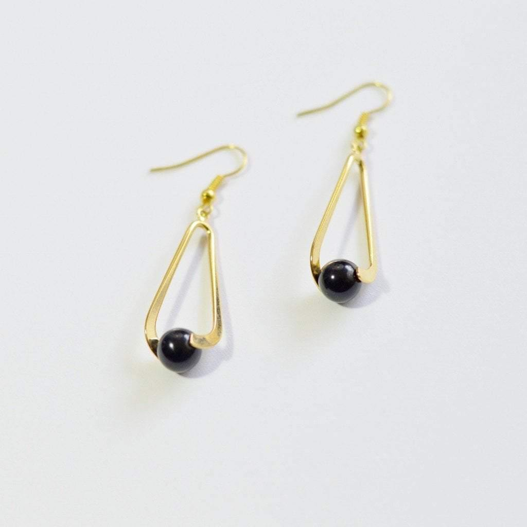 Obsidian (Black) Upward Spiral Gold or Silver Plated Gemstone Earrings - Alora Boutique  - 5