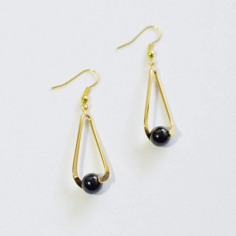 Upward Spiral Gemstone Earrings | Gold and Silver | Obsidian Gemstone - Alora Boutique