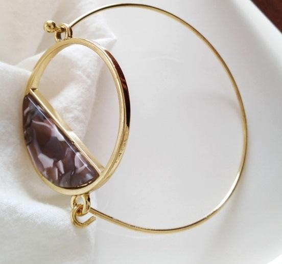 Aisha Open Circle Resin Bangle - Alora Boutique - Jewelry with meaning that gives back fashion for good