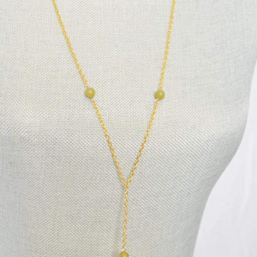 Lariat Necklace Peridot August Birthstone Gemstone - Heart Chakra, Balance, Compassion - Alora Boutique  - 1
